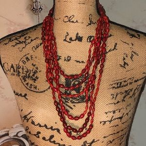 Red Beaded Island feel Layered Necklace